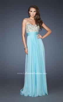 Picture of: A-line Prom Dress with Embroidered and Beaded Bodice in Blue, Style: 18704, Main Picture