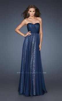 Picture of: Sequined Prom Gown with Chiffon Overlay and Belted Waist, Style: 18706, Main Picture