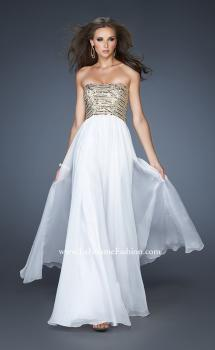 Picture of: Long A-line Dress with Sequined Bodice and Open Back in White, Style: 18708, Main Picture