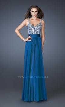 Picture of: Intricate Beaded Prom Dress with Gathered Waist in Blue, Style: 18713, Main Picture