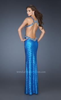 Picture of: Fully Sequined Fitted Gown with Side Slit and Low V Back in Blue, Style: 18724, Main Picture