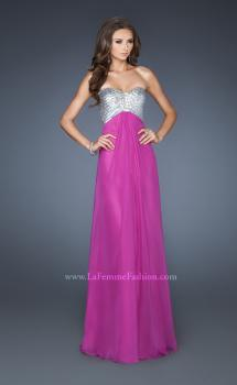 Picture of: Empire Waist Chiffon Gown with Crossed Strap Open Back in Purple, Style: 18729, Main Picture