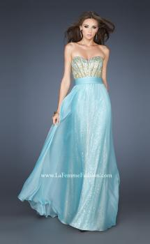 Picture of: A-line Sequined Gown with Ruched Chiffon Belt in Blue, Style: 18737, Main Picture