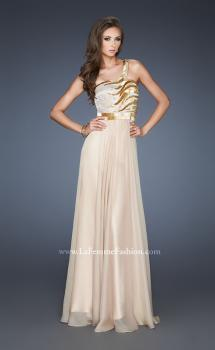 Picture of: Beaded Bodice Long Prom Dress with Open Back in Nude, Style: 18743, Main Picture