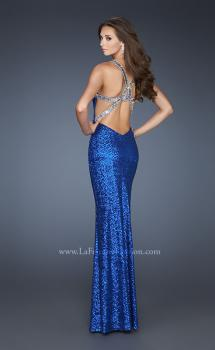Picture of: Long Sequin Dress with Cut Out Back and Beading in Blue, Style: 18744, Main Picture