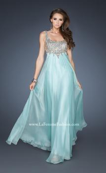 Picture of: Empire Waist Chiffon Gown with Scoop Neck Detail in Blue, Style: 18745, Main Picture