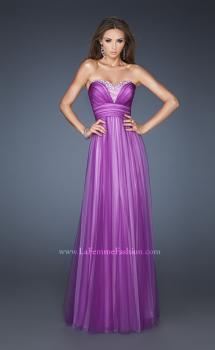 Picture of: Two Tone Empire Waist Net Gown with Sweetheart Neckline in Purple, Style: 18746, Main Picture