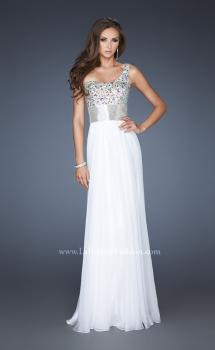 Picture of: Beaded Bodice Long Prom Dress with Belt Detail in White, Style: 18754, Main Picture