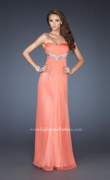 Picture of: Glam Chiffon Prom Dress with Sweetheart Neck and Beads in Orange, Style: 18796, Main Picture