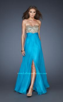 Picture of: Strapless Chiffon Gown with V Front Neckline and Slit in Blue, Style: 18800, Main Picture