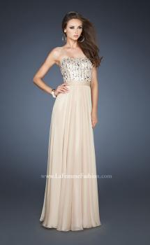 Picture of: Long Chiffon Dress with Beaded Bodice and A-line Skirt in Nude, Style: 18801, Main Picture