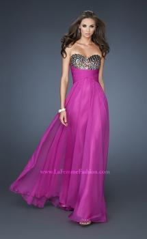 Picture of: Long Chiffon Dress with Sequined Bodice and Gathers in Pink, Style: 18846, Main Picture