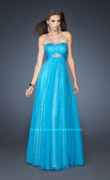 Picture of: Long Strapless Sequin Prom Dress with Chiffon Overlay in Blue, Style: 18870, Main Picture