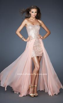 Picture of: Short Strapless Prom Dress with Detachable Chiffon Skirt in Orange, Style: 18872, Main Picture