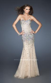 Picture of: Long Strapless Bedazzled Mermaid Gown with Corset Bodice , Style: 18873, Main Picture