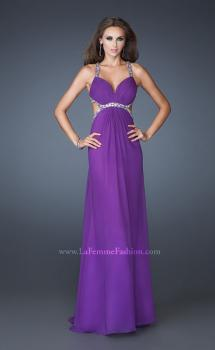 Picture of: Long Chiffon Prom Gown with Beaded Straps and Cut Outs in Purple, Style: 18888, Main Picture