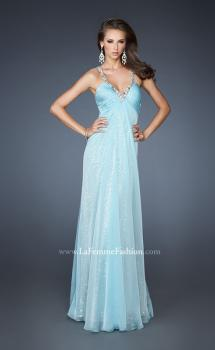 Picture of: Long Sequin Prom Dress with Chiffon Overlay in Blue, Style: 18896, Main Picture