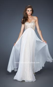 Picture of: Long Strapless Sequin Dress with Chiffon Overlay in White, Style: 18898, Main Picture