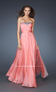 Picture of: Long Strapless Chiffon Prom Dress with Beaded Trim in Orange, Style: 18899, Main Picture