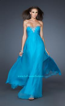 Picture of: Long Strapless Chiffon Prom Dress with Beaded Trim in Blue, Style: 18909, Main Picture