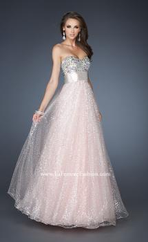 Picture of: Strapless Long Ball Gown with Beaded Bodice and Belt in Pink, Style: 18910, Main Picture