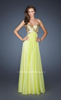 Picture of: Long Strapless Chiffon Prom Dress with Beaded Bodice in Green, Style: 18911, Main Picture