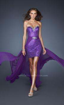 Picture of: Sequin Fitted Prom Dress with Detachable Chiffon Skirt in Purple, Style: 18922, Main Picture