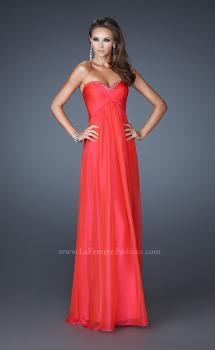 Picture of: Strapless Long Chiffon Prom Dress with Beaded Trim Detail in Orange, Style: 18935, Main Picture