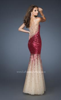 Picture of: One Shoulder Sequin Mermaid Prom Dress with Tulle Skirt in Pink, Style: 18936, Main Picture