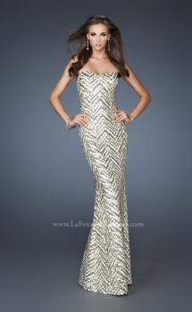 Picture of: Strapless Fitted Long Prom Dress with Sequin Pattern in Gold, Style: 18938, Main Picture