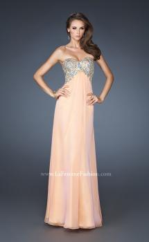 Picture of: Strapless Long Chiffon Prom Dress with Embellished Bodice in Orange, Style: 18942, Main Picture