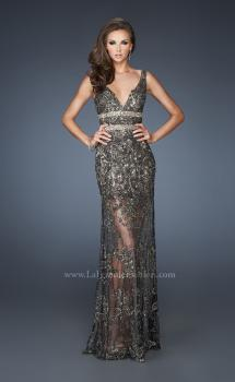 Picture of: Long Beaded Embroidered Lace Gown with Sheer Skirt in Black, Style: 18944, Main Picture