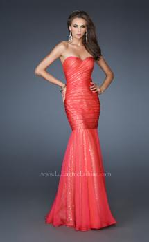 Picture of: Strapless Ruched Mermaid Dress with Sequin Underlay in Orange, Style: 18949, Main Picture