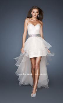 Picture of: Strapless Sequin Prom Dress with Detachable High Low Skirt in White, Style: 18955, Main Picture