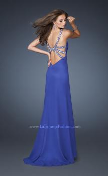 Picture of: Long Chiffon Prom Dress with Metallic Beaded Halter Straps in Blue, Style: 18956, Main Picture