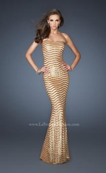 Picture of: Strapless Fitted Long Prom Dress with Sequin Pattern in Gold, Style: 18964, Main Picture