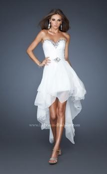 Picture of: Strapless High Low Chiffon Dress with Fitted Bodice in White, Style: 18970, Main Picture