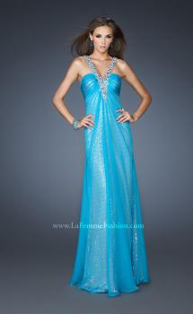 Picture of: Long Halter Sequin Prom Dress with Chiffon Overlay in Blue, Style: 18985, Main Picture