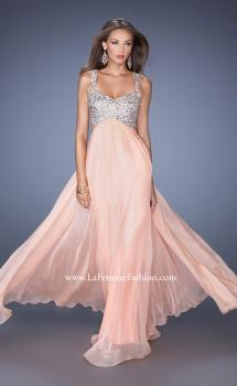 Picture of: Long Chiffon Prom Dress with Sequin Bra in Orange, Style: 18989, Main Picture