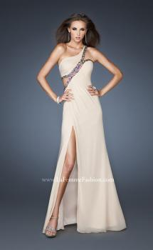 Picture of: One Shoulder Gown with Multicolored Beaded Trim in Nude, Style: 18994, Main Picture