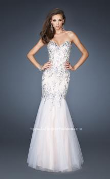 Picture of: Long Fitted Embellished Mermaid Dress with Tulle Skirt in White, Style: 19036, Main Picture