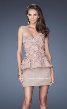 Picture of: Short Strapless Prom Dress with Textured Bodice and Peplum in Nude, Style: 19088, Main Picture