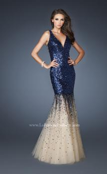 Picture of: Long Fitted Mermaid Sequin Dress with Tulle Skirt in Blue, Style: 19097, Main Picture