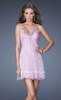Picture of: Short Dress with Sequin Underlay and Beaded Neckline in Purple, Style: 19101, Main Picture