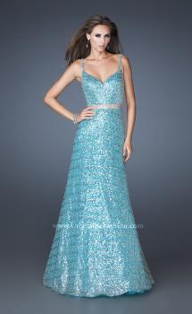 Picture of: Sequin Long Ball Gown with Beaded Belt , Style: 19136, Main Picture