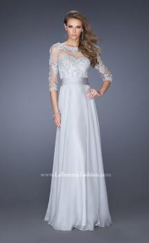 Picture of: Long Chiffon Dress with Illusion Beaded Lace Sleeves in Silver, Style: 19137, Main Picture