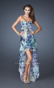 Picture of: High Low Printed Prom Dress with Cascading Layers in Multi, Style: 19139, Main Picture