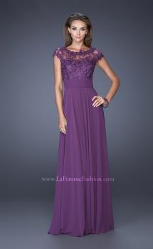 Picture of: A-line Chiffon Dress with Sheer Illusion Lace Cap Sleeves, Style: 19142, Main Picture