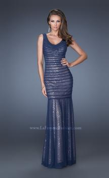 Picture of: Long Fitted Mermaid Dress with Contrasting Sequin Underlay in Blue, Style: 19145, Main Picture