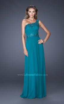 Picture of: One Shoulder Chiffon Gown with Lace Beading on Bodice, Style: 19148, Main Picture